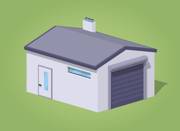 Garage blanc fermé low poly
