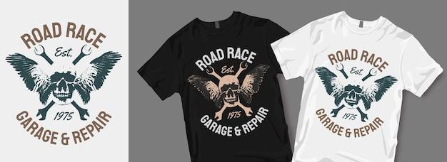Garage de course sur route et réparation de marchandises de conception de t-shirt