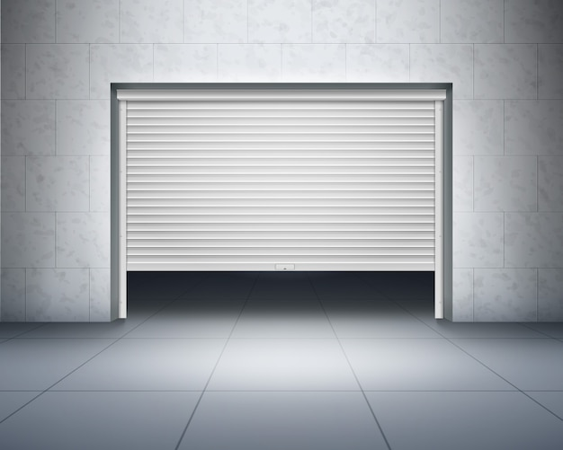 Garage avec murs en béton et sol carrelé gris et porte qui s'ouvre, volet roulant ou entrée avec intérieur sombre