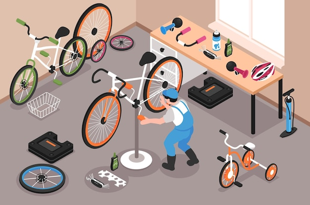 Garage de réparation de vélos avec homme fixant la pédale de vélo 3d illustration isométrique