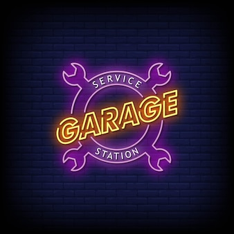 Garage service station neon signs style text vector
