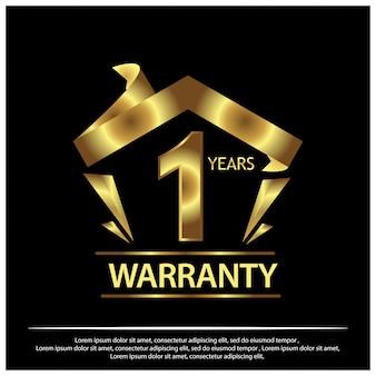 Garantie d'un an étiquette dorée sur fond noir