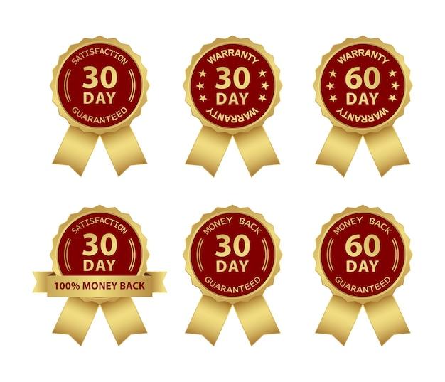 Garantie de remboursement et jeu d'icônes de badge de garantie
