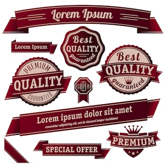 Garantie rétro de style vintage et collection de modèles d'autocollants et de bannières d'étiquette de qualité.