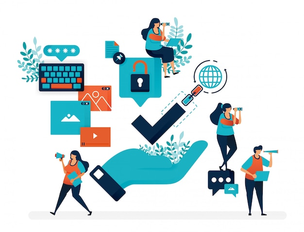 Garantie de sécurité pour l'accès internet. vérification sur le réseau de liaison. main avec tique géante