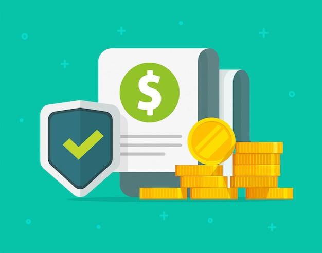 Garanties financières argent protection d'assurance ou investissement en espèces garantie de soins de sécurité sécurisée dessin animé plat