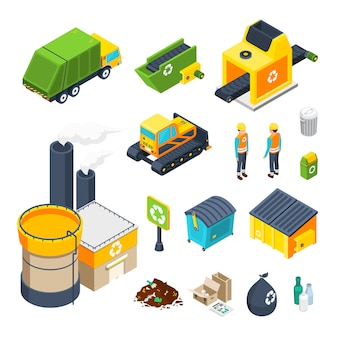 Garbage isometric icon set