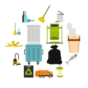 Garbage thing set icons plats