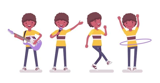 Garçon de 7 à 9 ans, divertissement pour enfants d'âge scolaire de sexe masculin noir