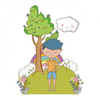 Garçon adolescent de dessin animé
