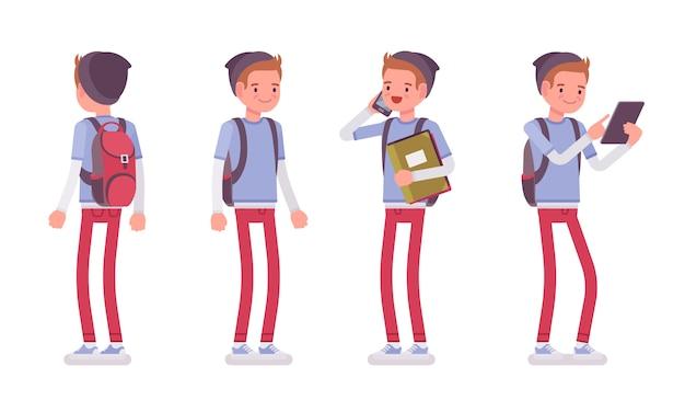 Garçon adolescent en posture debout
