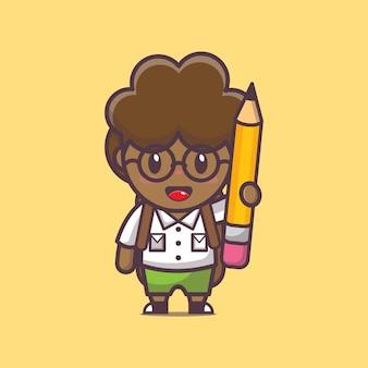 Garçon afro mignon retour à l'école session de retour à l'école