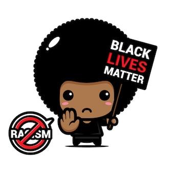 Un garçon afro avec un symbole d'arrêt du racisme