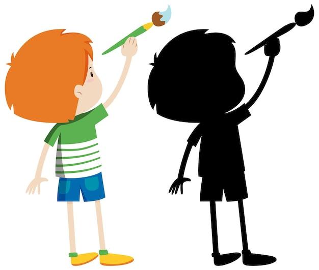Garçon à l'aide de pinceau avec sa silhouette