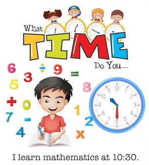 Un garçon apprend les mathématiques