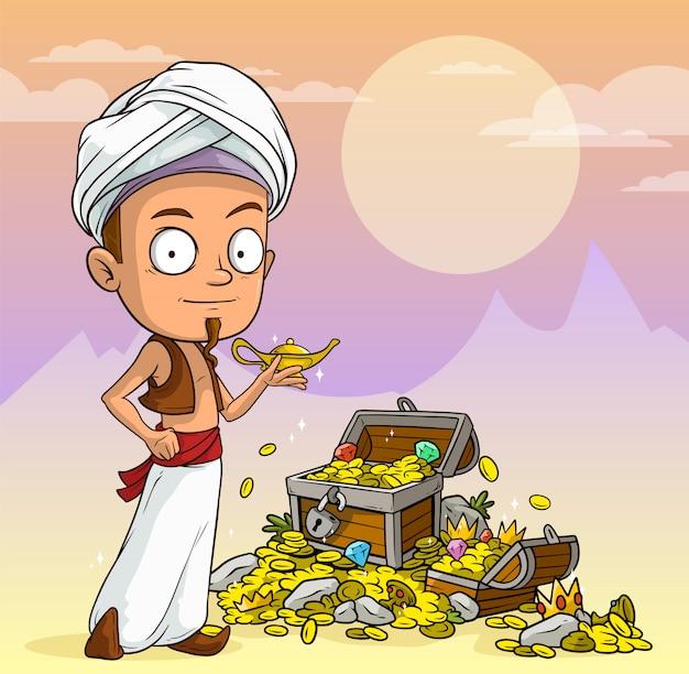 Garçon arabe de dessin animé avec lampe et coffre au trésor