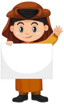 Garçon arabe tenant une bannière vierge