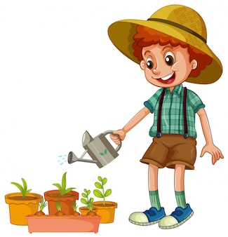 Un garçon arrosant les plantes