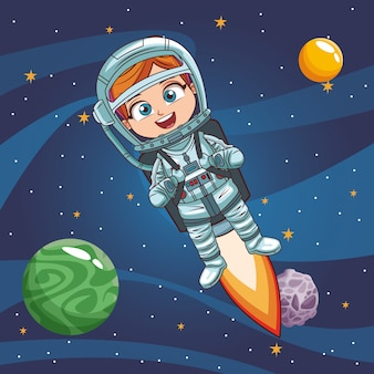 Garçon astronaute dans l'espace