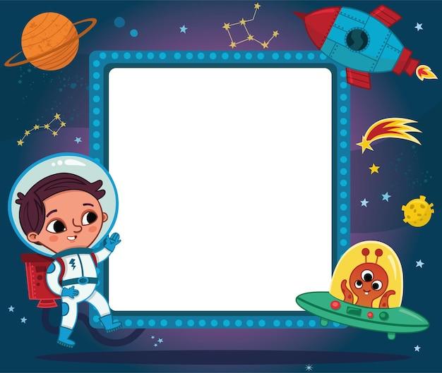 Garçon astronaute de dessin animé avec zone de texte vide dans le thème de l'espace