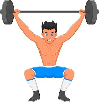 Garçon athlétique soulever des poids sur fond blanc