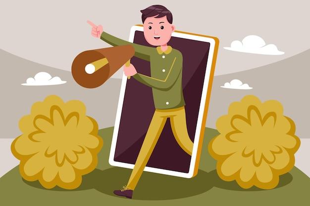Un garçon attrayant fait la promotion de son entreprise avec un smartphone