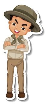 Garçon en autocollant de personnage de dessin animé tenue safari