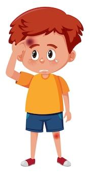 Un garçon ayant une ecchymose sur la tête