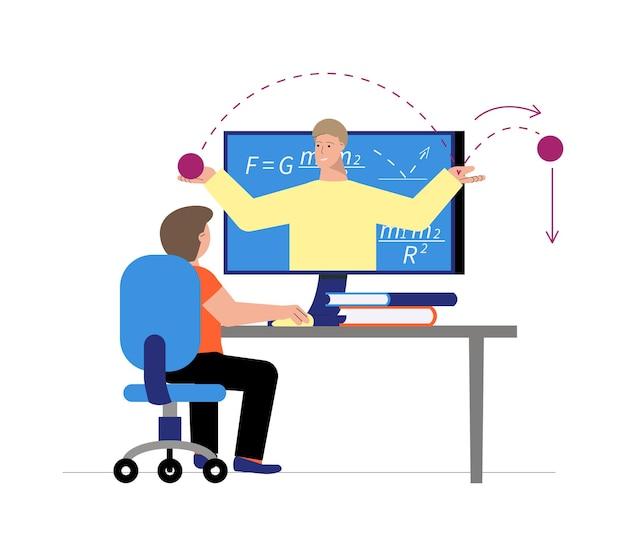 Garçon ayant une leçon de mathématiques en ligne sur son ordinateur à plat