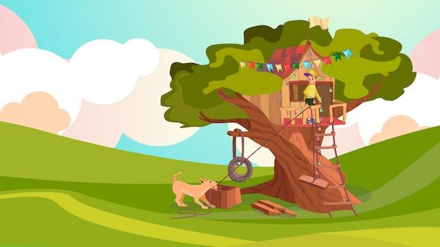 Garçon de bande dessinée construire maison en bois sur arbre chien aide