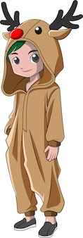 Garçon de bande dessinée vêtu d'un costume de noël
