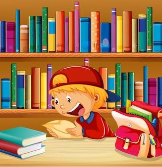 Un garçon à la bibliothèque