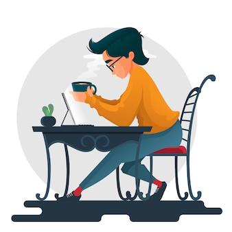 Garçon, boire du café et chatter avec ipad