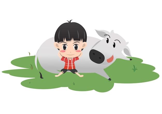 Le garçon et le buffle se reposer en illustration vectorielle de jardin