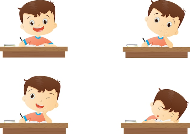 Garçon de caractère drôle étudie à l'école