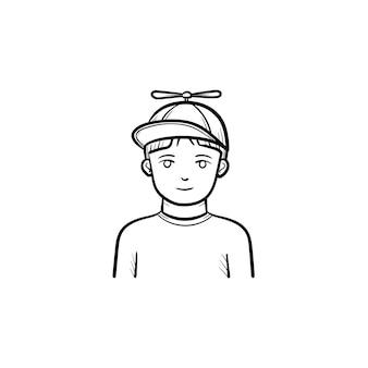 Garçon en casquette de baseball icône de doodle contour dessiné à la main