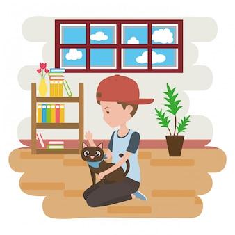 Garçon avec chat de dessin animé