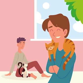 Garçon avec des chats