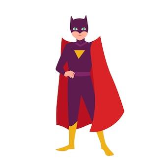 Garçon chauve souris. adolescent en costume de chauve-souris debout dans une pose héroïque. fantastique enfant héros avec un super pouvoir. super-héros adolescent portant un masque et une cape. super-enfant, super-enfant. illustration vectorielle de dessin animé plat.