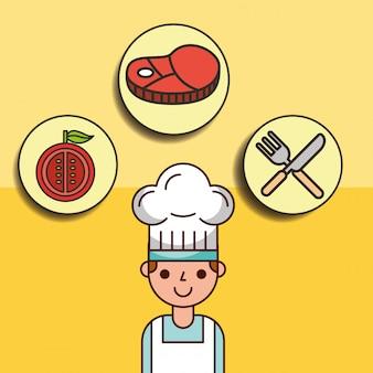 Garçon chef dessin animé avec viande tomate et fourchette couteau