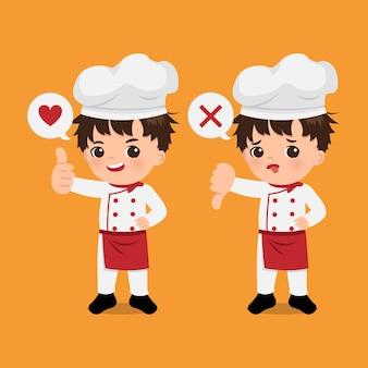 Garçon de chef mignon montrant le geste du pouce vers le haut et le pouce vers le bas en signe d'approbation et de désapprobation. design plat de bande dessinée