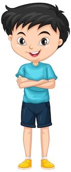 Garçon en chemise bleue sur isolé