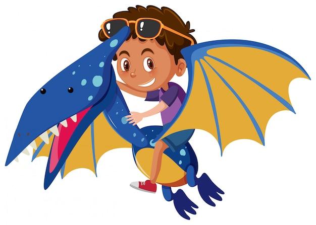 Un garçon à cheval sur pteranodon