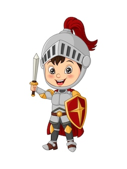 Garçon de chevalier de dessin animé tenant l'épée et le bouclier