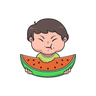 Garçon chibi kawaii mangeant de la pastèque