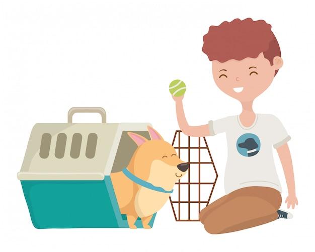 Garçon avec chien de dessin animé à l'intérieur du chenil