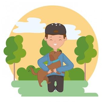 Garçon avec chien de dessin animé