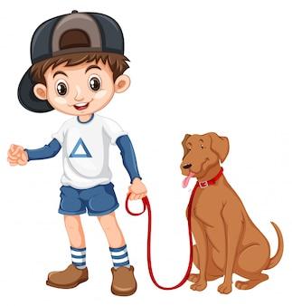Un garçon et un chien sur fond blanc