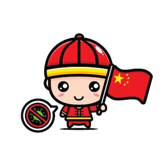Garçon de chine avec le drapeau contre le virus