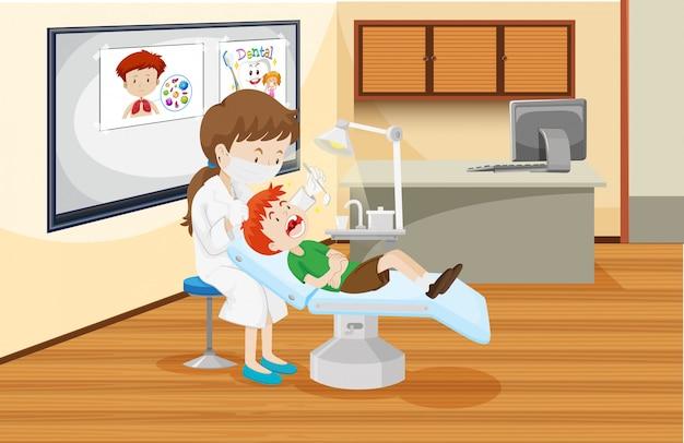 Un garçon à la clinique dentaire